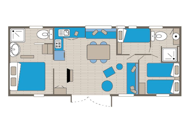 Location mobil home Taos 6 personnes plan