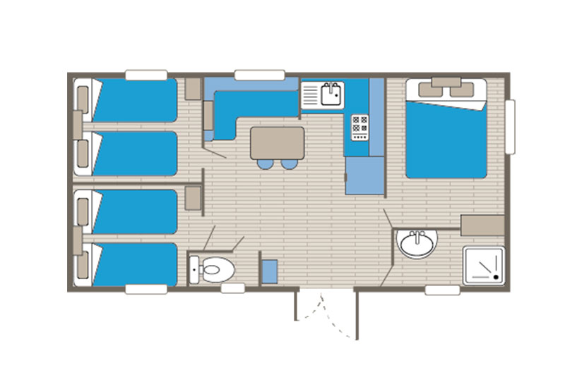 Mobile home rental Family 6 people floor plan