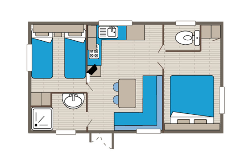 Location mobil home faré 4 personnes plan