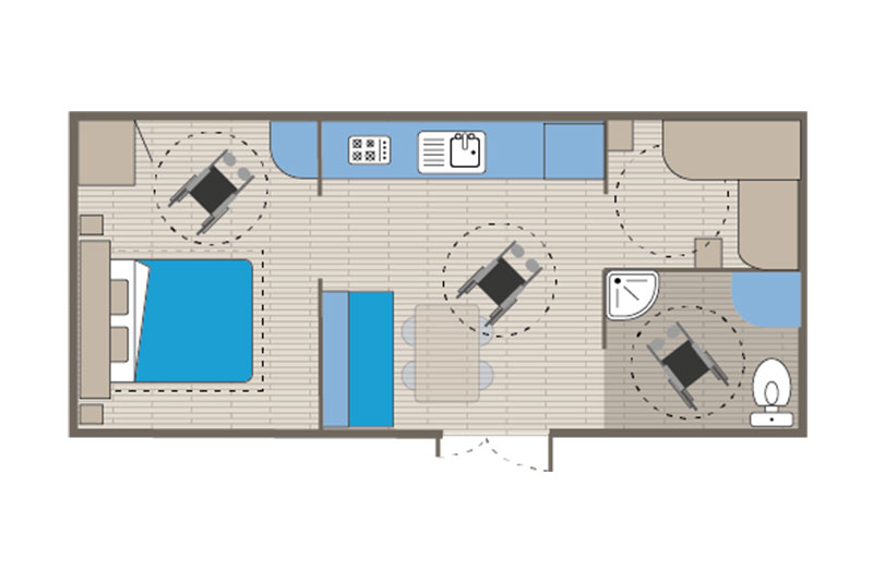 Mobile home rental Life 6 people floor plan