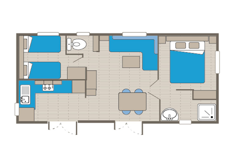 Mobile home rental Riviera 4 people floor plan