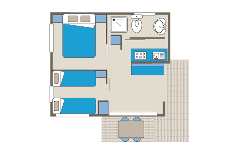 Mobile home rental Titom 5 people floor plan