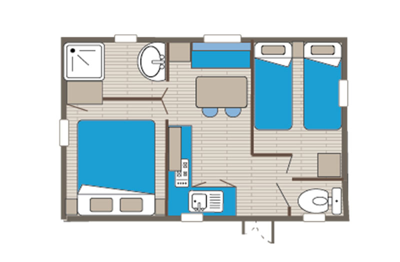 Mobile home rental Venus Comfort 4 people floor plan